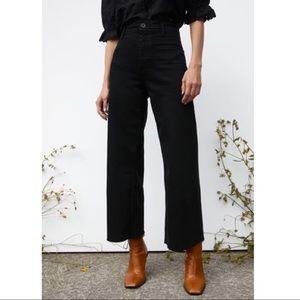 NEW Zara Marine Straight Black Wide Leg Crop Jeans